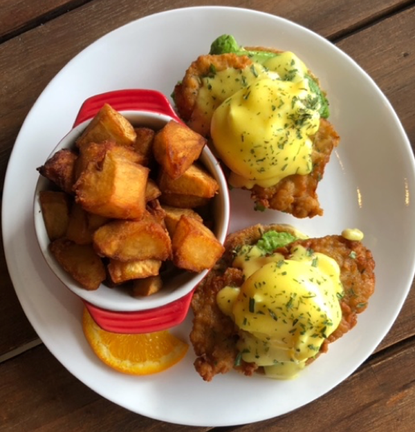 Buttermilk Fried Chicken and Avocado Eggs Benny